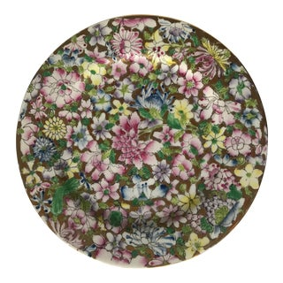 Vintage Floral and Gold Chinoiserie Plate For Sale