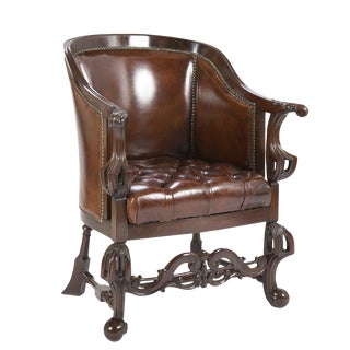 Mahogany & Leather Tub or Desk Chair For Sale