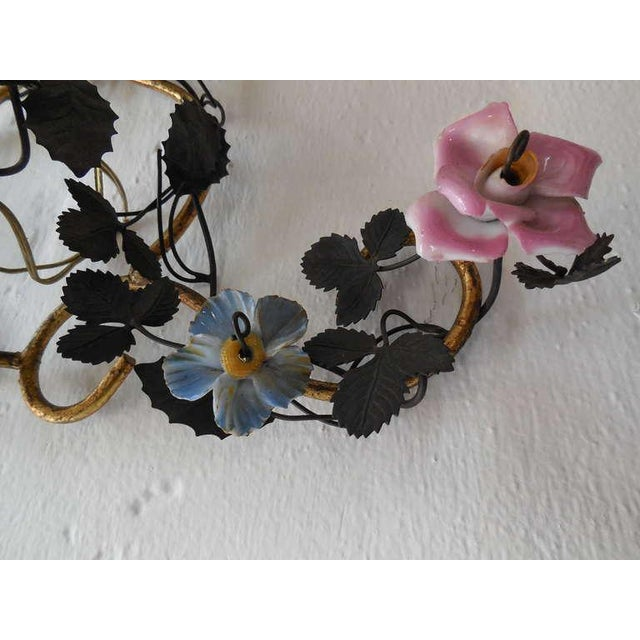 Ceramic French Huge Porcelain Flowers Roses Tole Sconces For Sale - Image 7 of 10