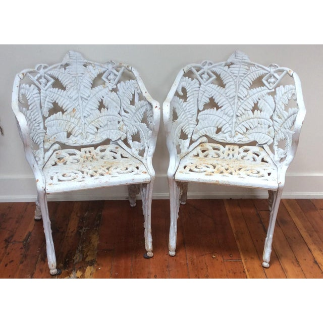 """Seat height 16"""". These cast iron fern garden chairs are extremely heavy and surprisingly comfortable. The condition is..."""