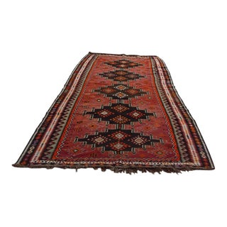 "Antique Caucasian Kilim Camel Wool Rug - 5'4"" x 13'10"""