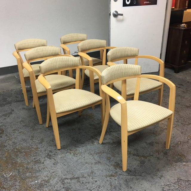 Mid-Century Light Maple Lowenstein Dining Chairs - Set of 7 For Sale - Image 4 of 8