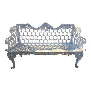 White Cast Iron Garden Bench