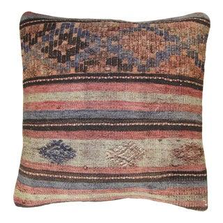 "Subdued Stripe Vintage Kilim Pillow | 19"" For Sale"