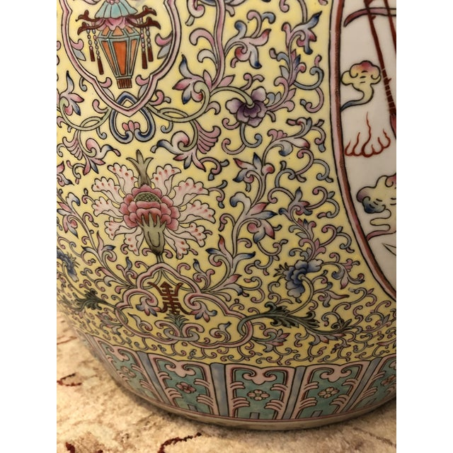 A particularly pretty decorative large Chinese planter having meticulous decoration in shades of pale yellow, pink, light...