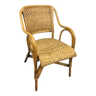 Bamboo and Woven Cane Armchair