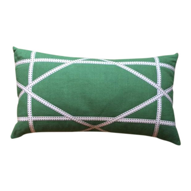 Apple Green Linen Pillow with Lattice Work Made from Ribbon For Sale