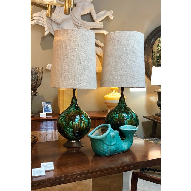 American 1960's Olive Green and Teal Drip Glaze Bulbous-Form Lamps With Shades - a Pair For Sale - Image 4 of 7