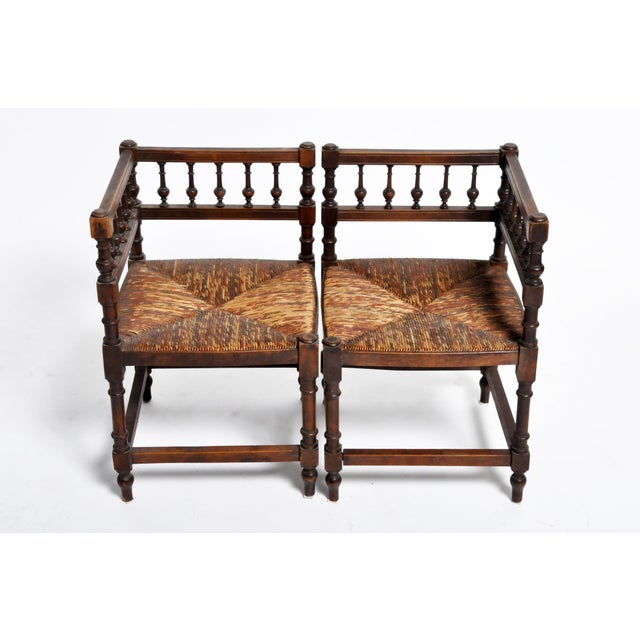 French French Wooden Corner Chairs - a Pair For Sale - Image 3 of 13