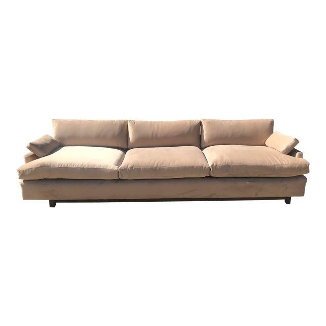 Mid Century Khaki Velvet Sofa For Sale