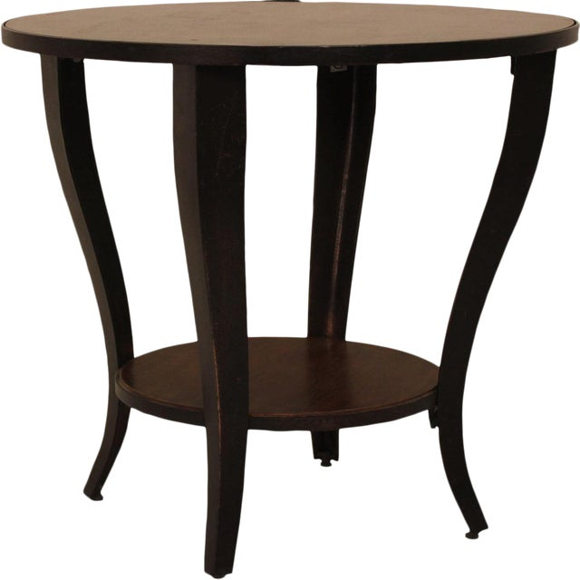 Round Accent Side End Table With Shelf Pedestal Stand Wood for Sofa Living Room - Image 1 of 3