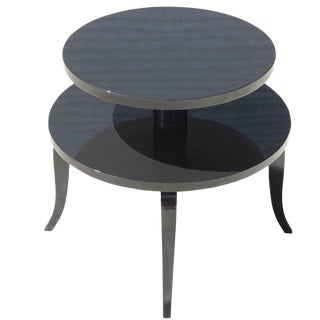 Classic French Art Deco Black Lacquer Accent or Side Table, Circa 1940s For Sale