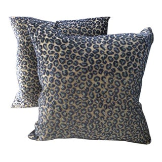 Colefax & Fowler Pillows in Blue Wild Leopard Raised Velvet - a Pair For Sale