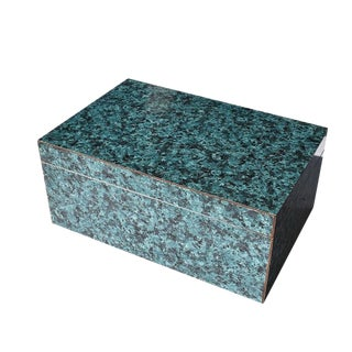 Organic Modern Rectangular Green Malachite Style Veneer Box With Lid For Sale