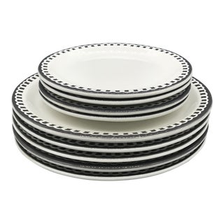 Vintage McNicol Airbrushed Restaurantware Dinner and Salad Plates - 9 Pc. Set