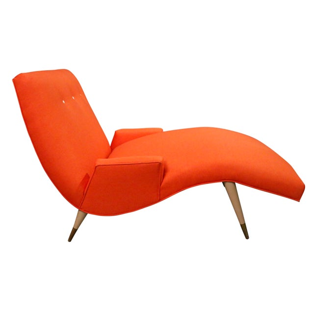 Mid Century Modern curated Wave Chaise Lounge by Lawrence Peabody for Selig. Very cool wave lounge with a new maharam...