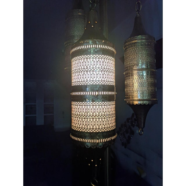 Islamic Mid Century Tension Pole Swag Lamp With 3 Brass Moroccan Style Fixtures For Sale - Image 3 of 8