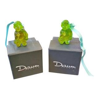 Pair of Daum Glass Xmas Tree Cherub Decorations For Sale