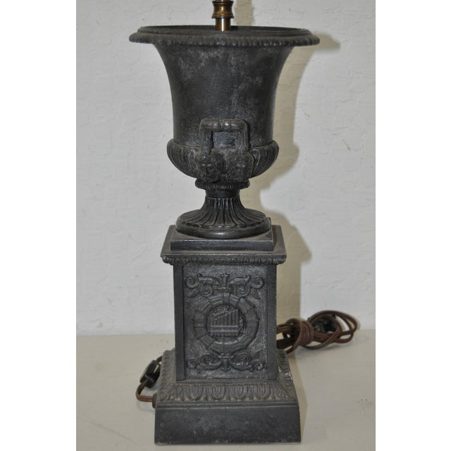 Victorian Cast Iron Urn Table Lamp For Sale - Image 5 of 8