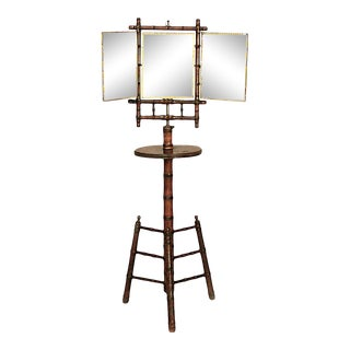 English Victorian Faux Bamboo Shaving Stand With Triptych Mirror For Sale