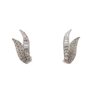 1960s Boucher Rhodium Plated Rhinestone Earrings For Sale