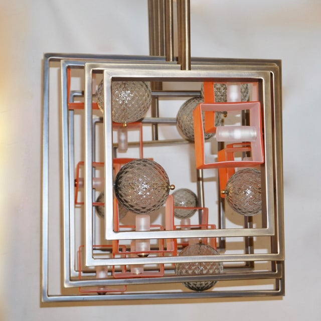 Contemporary Minimalist Bronze Brass Cubic Chandelier With Orange & White Murano Glass Cubes For Sale - Image 3 of 11