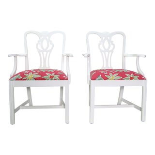 Modern Thibaut Upholstery Chippendale Arm Chairs- A Pair For Sale