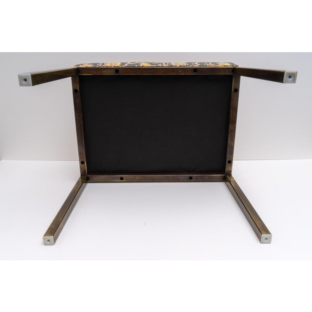 Mastercraft Bench With Coral Motif Fabric For Sale In West Palm - Image 6 of 8
