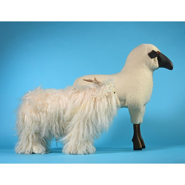 Textile Vintage Sheep or Mountain Goat With Natural Horns, Made by Hand Circa 1960s For Sale - Image 7 of 10