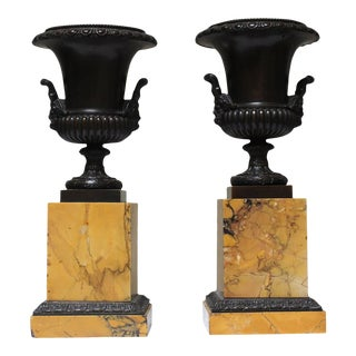 French Charles X Sienna Marble and Bronze Tazzas - a Pair For Sale