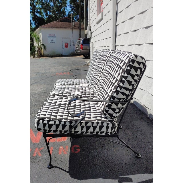 Russell Woodard Mid Century Russel Woodard Sofa With Outdoor Upholstery For Sale - Image 4 of 9
