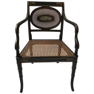 1910 Sheraton Style Hand Caned Armchair With Cherub Plaque For Sale