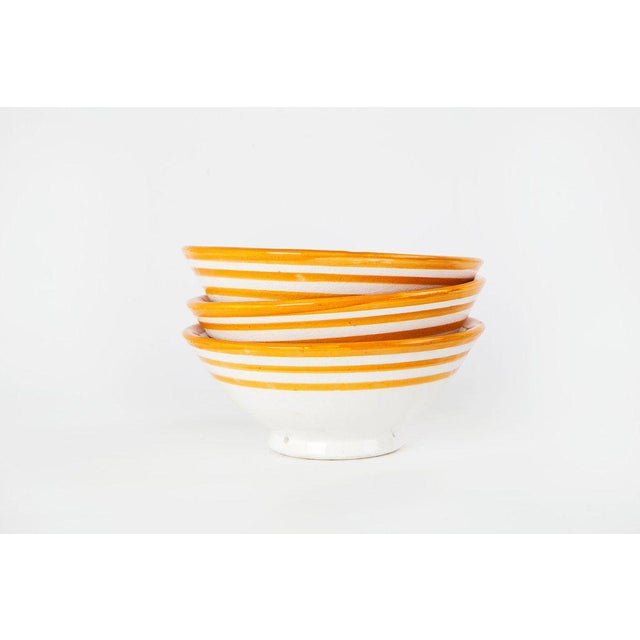 Handcrafted Orange Ceramic Bowls - Set of 3 - Image 3 of 4