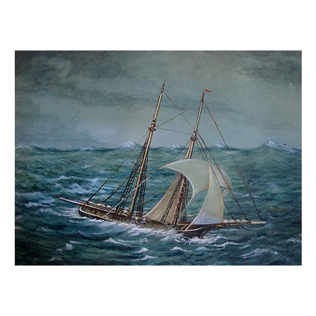 Antique Miniature Nautical Ship Painting - Image 2 of 4