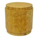 Image of 1950s Vintage Edward Wormley Dunbar Burl Wood Pedestal Accent Drum Table For Sale