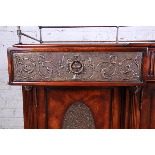 2000 - 2009 Theodore Alexander Regency Style Flame Mahogany Sideboard or Bar Cabinet For Sale - Image 5 of 13