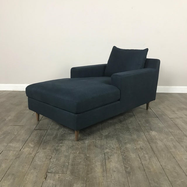 Modern Navy Chaise Lounge Sofa - Image 2 of 11