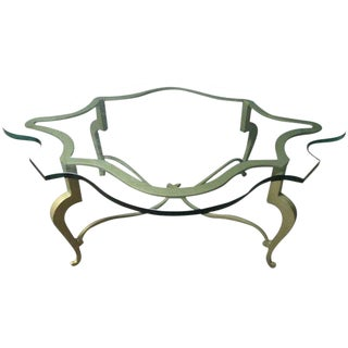 Iron Scalloped Edge and Glass Coffee Table For Sale