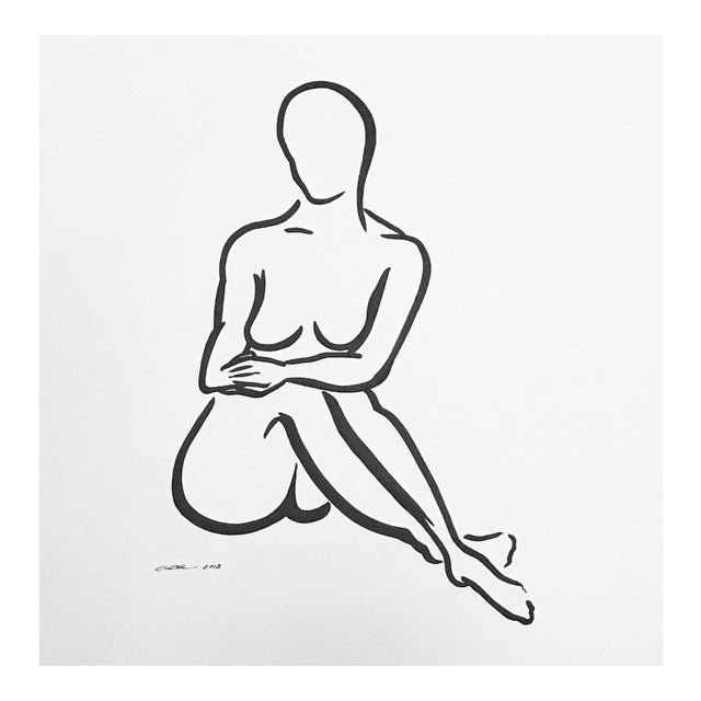 """Contemporary Figurative Original Pen & Ink Drawing """"Lady Like""""Christy Almond For Sale"""