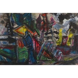 """Josef Presser """"Shipyard"""" Painting For Sale"""