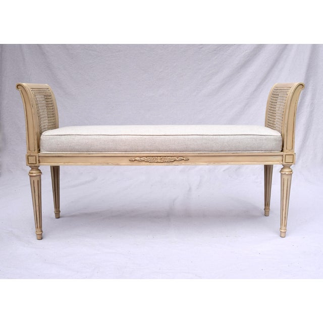Wood Vintage Louis XVI-Style Caned Scroll Arm Bench For Sale - Image 7 of 7