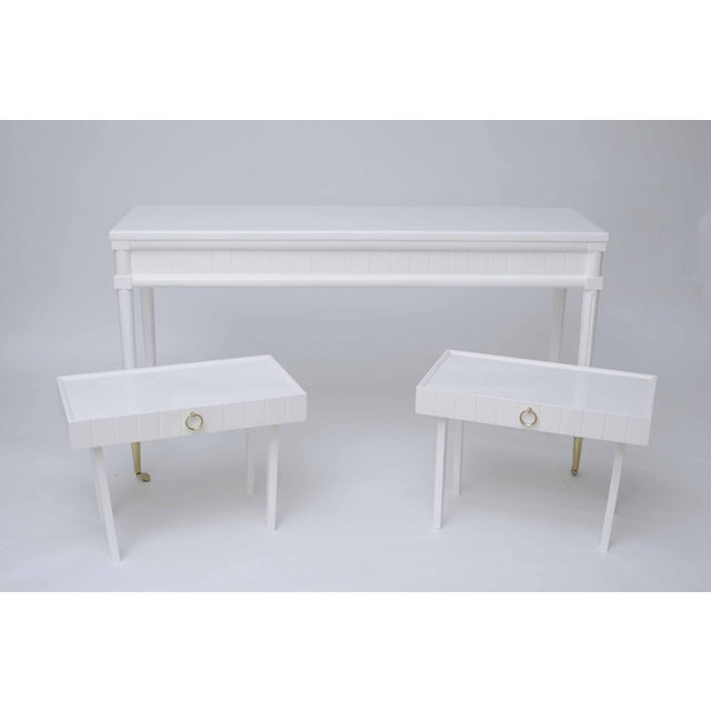 Lacquered Console Table & Pullout Side Tables - Image 2 of 4