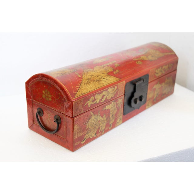Chinese Orange Leather Tabletop Trunk - Image 3 of 8