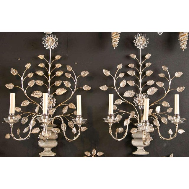 1930s French Silver Leaf Sconces - a Pair For Sale - Image 9 of 9