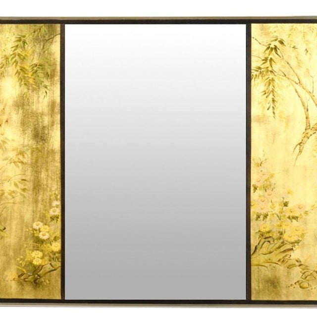 A stunning vintage Chinoiserie LaBarge wall hanging mirror. The mirror is in triptych form, with two hand-painted panels...