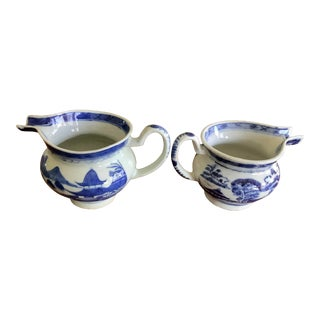Antique Chinese Export Canton Jugs - a Pair For Sale