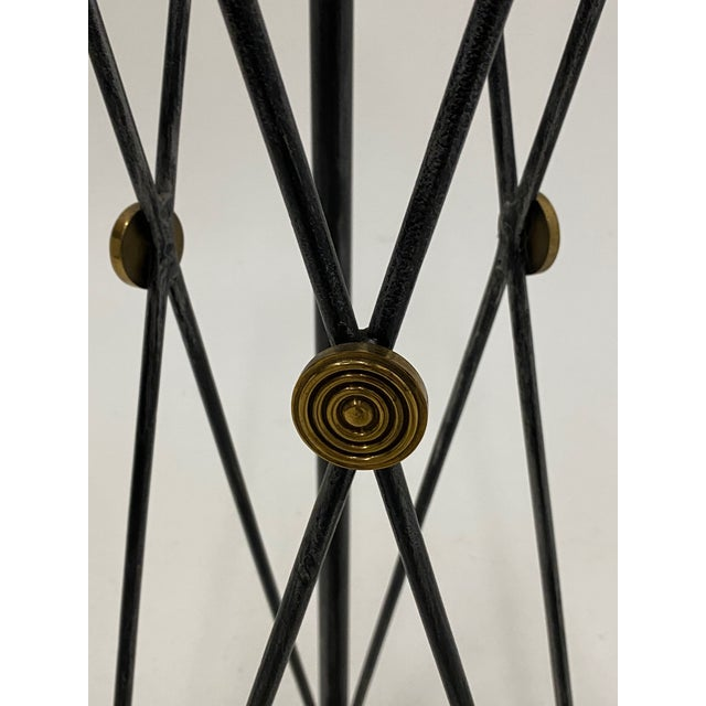 1980s Empire Style Brass Steel and Leather Pedestal For Sale - Image 5 of 9
