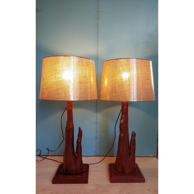Brown Mid-Century Old Florida Cypress Knee Lamps - a Pair For Sale - Image 8 of 11