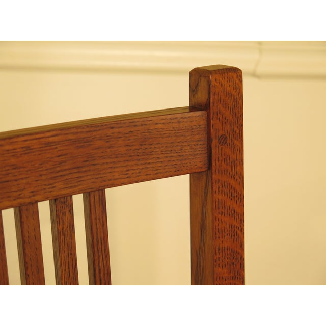 Oak Stickley Mission Oak Dining Room Chairs - Set of 4 For Sale - Image 7 of 13
