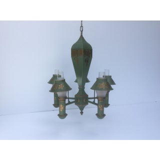 Green and Gold Painted Tole Chandelier Preview